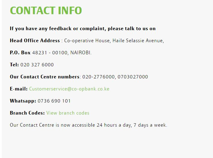 How do I contact Co Op Bank?